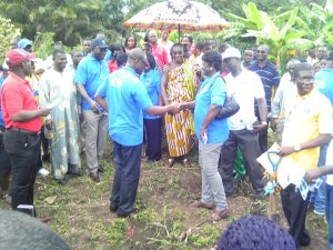Members of the association during a sod-cutting ceremony for the project