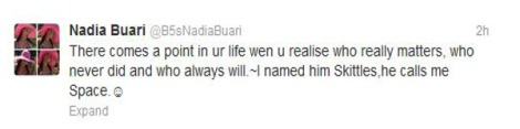 Nadia's love tweet